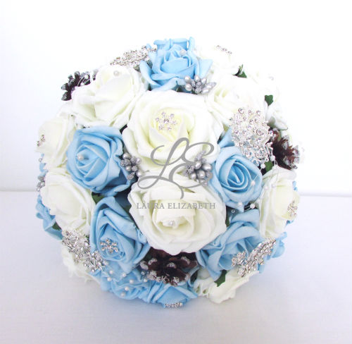 Turquoise and silver wedding bouquets