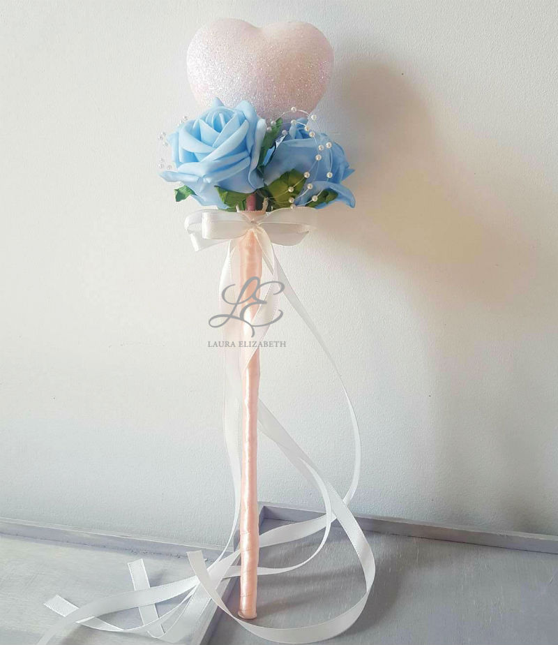 Blush - Glitter Heart Flower Girl Wand - Laura Elizabeth Artificial ...
