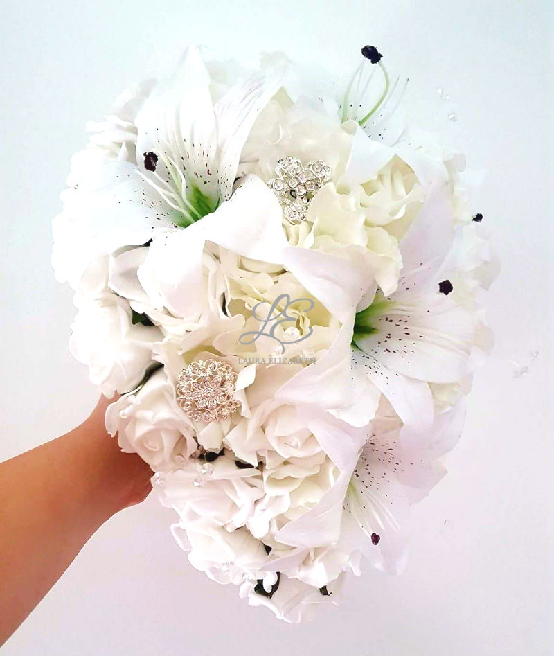 Cascading white real touch tiger lily and rose bridal bouquet cascading white real touch tiger lily and rose bridal bouquet laura elizabeth artificial wedding flowers mightylinksfo